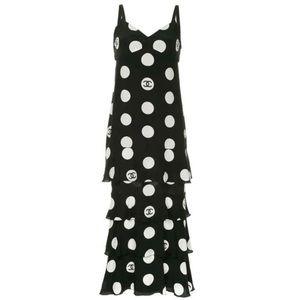 CHANEL | Vintage Polka-Dot Tiered Silk Dress